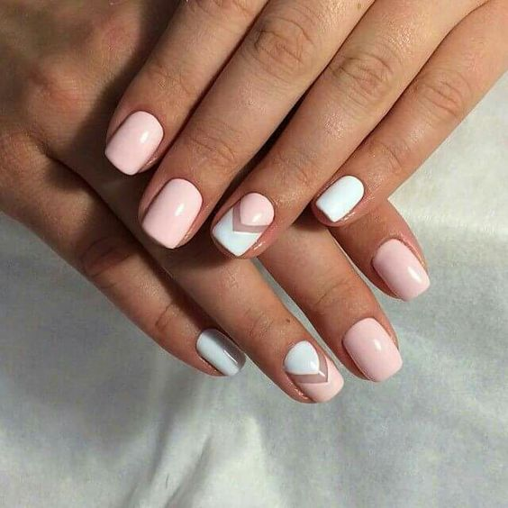 blush nails and blush and white chevron nails with a negative space