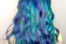 06 bold green hair with bold blue balayage