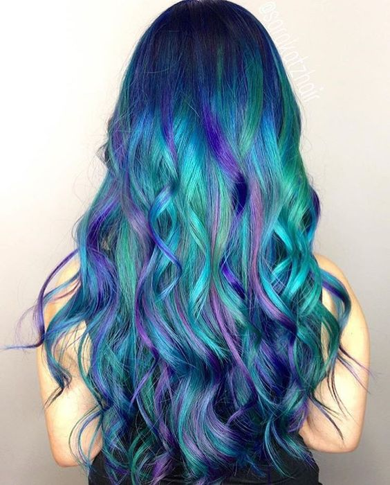 bold green hair with bold blue balayage