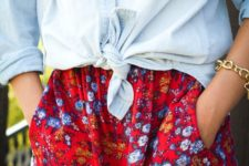 06 bold red and blue floral shorts, a distressed chambray shirt