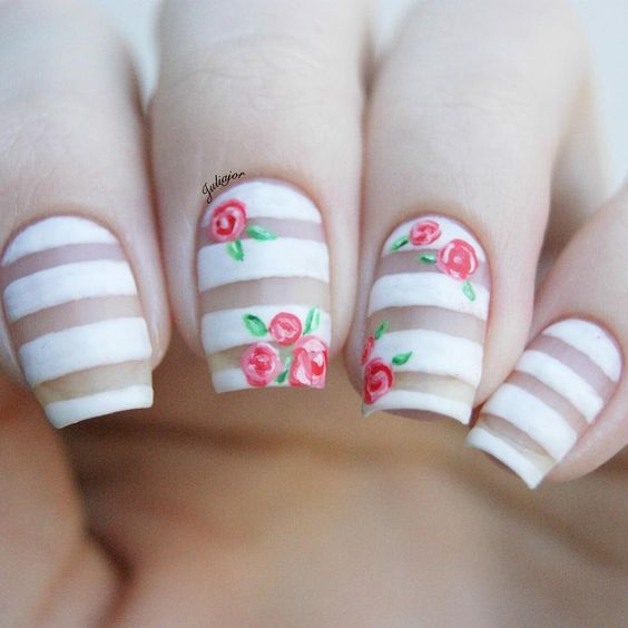 Picture of matte negative space striped nail art with red roses prinsesfo Image collections