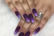 06 purple matter nails with an ombre effect