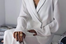 06 white silk pajamas with a black trim feels and looks awesome