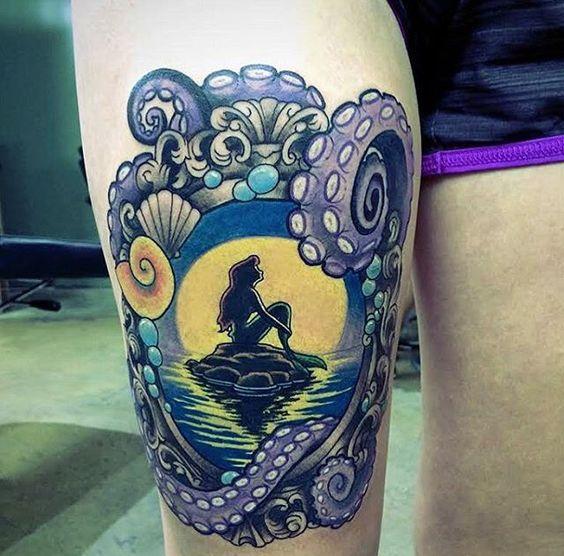 Ariel framed tattoo with an octopus