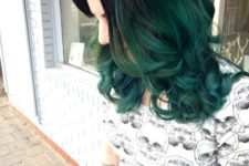07 black hair with emerald ombre looks very bold