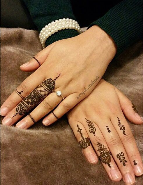 cute henna patterns only on fingers for a delicate look