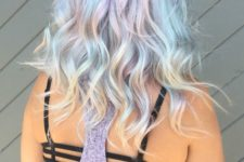07 light blue hair with shades of green and lavender