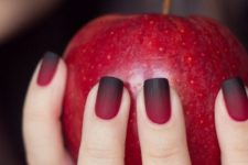 07 ombre matte red into black nails for a bold statement