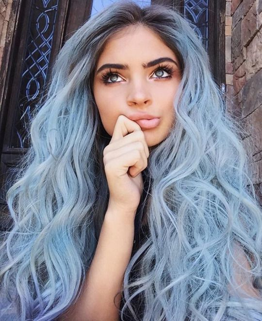 pastel blue long hair with waves
