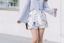 08 a pale blue shirt, delicate pastel blue shorts and lace up heels