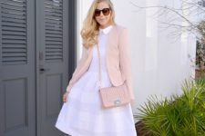 08 a white midi dress, floral heels and a blush blazer and bag