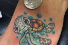 08 colorful turtle tattoo is small and cool looking