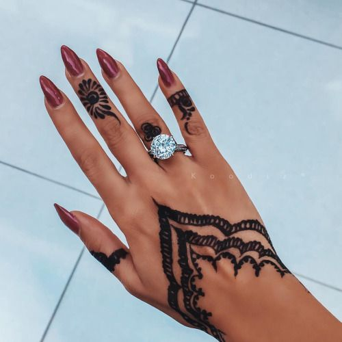 delicate lacey henna patterns on a hand and fingers