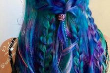 08 green hair with purple and blue locks