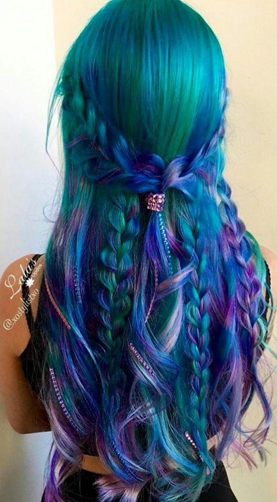 green hair with purple and blue locks