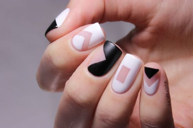 matte geometric black and white negative space nails