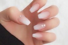 08 matte ombre French manicure with rhinestone accents
