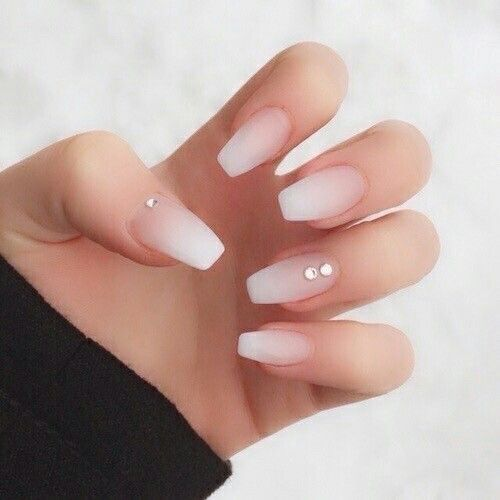 Matte Ombre French Manicure With Rhinestone Accents
