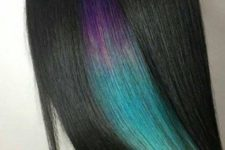 08 straight black hair with a purple to green part