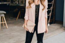 09 a black tee, black leather pants, blush heels and a blazer