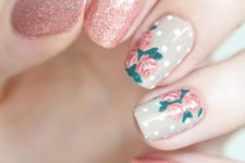 09 glitter pink nails and two polka dot and pink flower nails