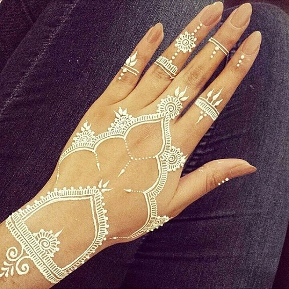 henna design on the hand, fingers and wrist
