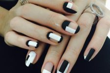09 matte black and white negative space geometric nails