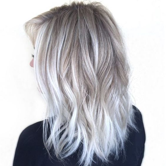 more natural blonde and silver grey balayage into white