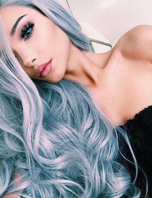 soft light blue long hair