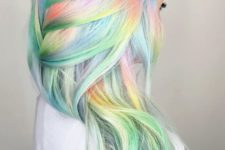 09 white hair with light blue, green and orange balayage