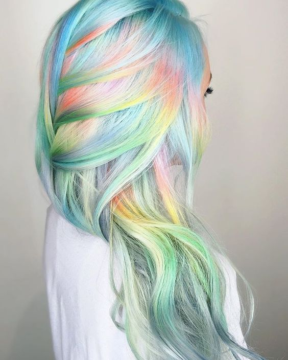 white hair with light blue, green and orange balayage