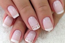 10 French nails with delicate flowers on just two nails