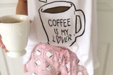 10 a cool pjs with pink shorts and a coffee mug print and a white printed tee