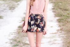 10 black floral shorts, a blush shirt and brown vintage shoes
