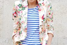 10 bold blue jeans, a striped shirt and a cute floral blazer
