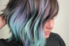 10 chestnut hair with lavender and green touches