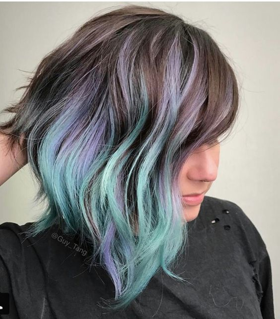 chestnut hair with lavender and green touches
