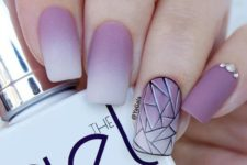 10 purple pink matte nails with an accent geometric one