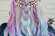 10 shades of purple, turquoise and pink on white hair
