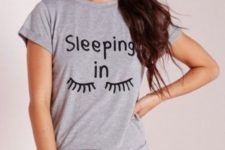 11 a grey printed pajams with shorts and a tee