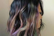 11 black hair with green and purple touches