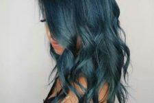 11 medium length hair of teal color with light waves
