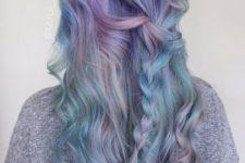 11 pastel green hair with lavender balayage