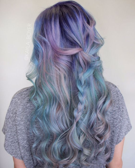 pastel green hair with lavender balayage