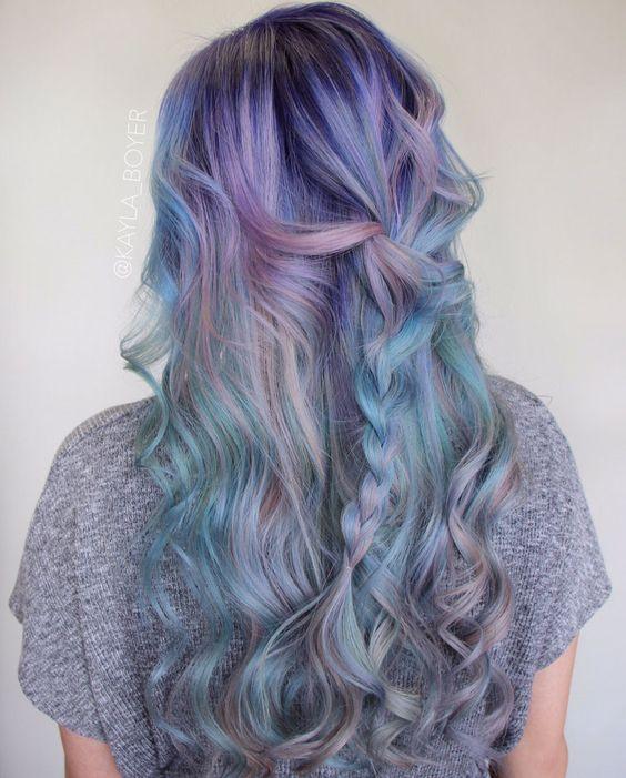 pastel green hair with lavender balayage