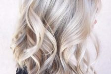 11 silver grey highlights on blonde hair, waves