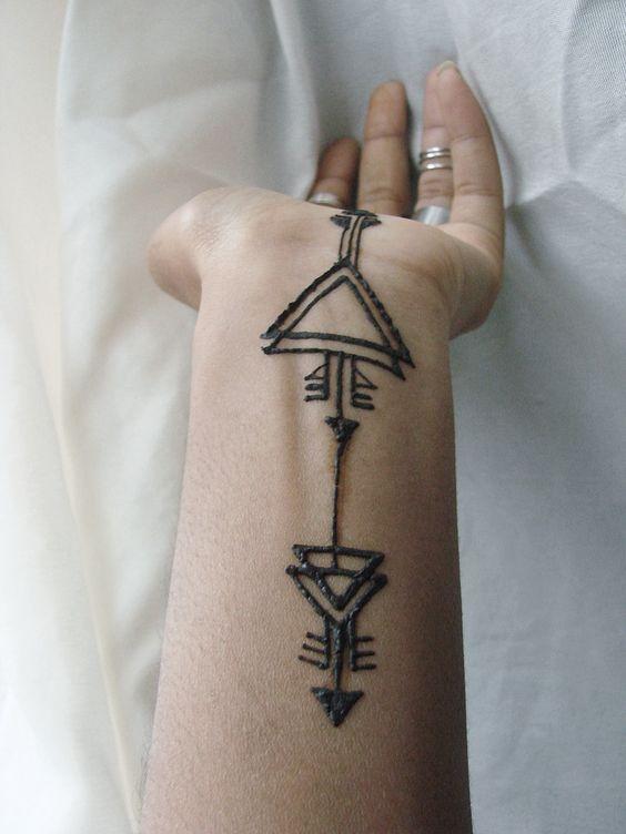 tribal henna design on the wrist and palm