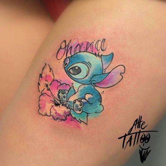 watercolor Lilo and Stitch little tattoo