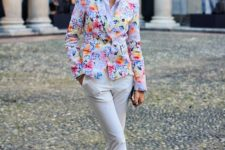 11 white pants, a white shirt, a bold blazer and yellow moccasins