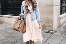 12 a blush dress, a distressed denim jacket and lace up heels